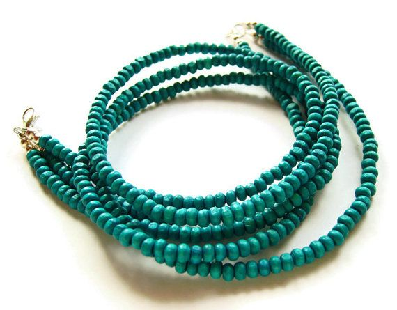 Teal blue beaded wood necklace by AellaJewelry, $20.00 #necklace #layer #blue