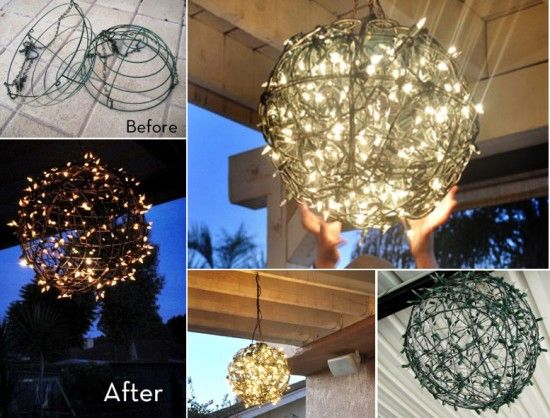 Garden Chandelier Golden Glowing Ball