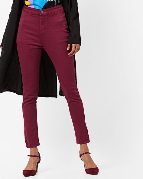 33ef18ae09c Buy Burgundy Jeans & Jeggings for Women by AJIO Online | Ajio.com ...