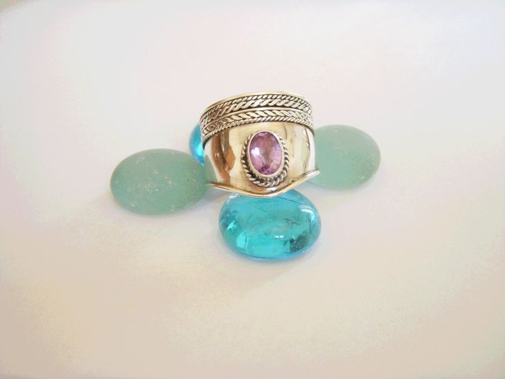Plain silver wide ring with Amethyst. Hippy chic modern