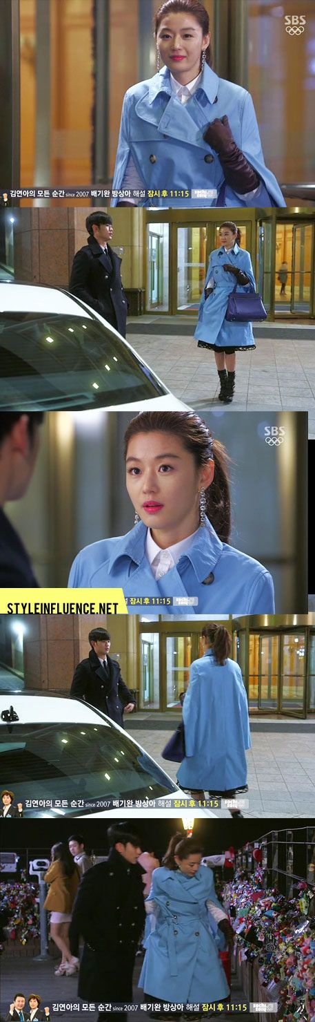[Korean Drama Fashion] You Who Came from the Stars, Jun Ji Hyun – Celine Baby Blue Coat & Bag, H. Stern Crystal Earrings, Giuseppe Zanotti Sandals