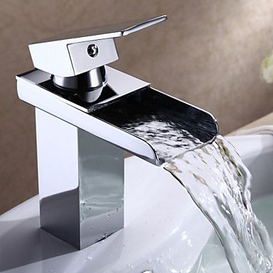 Modern Single Handle Waterfall Bathroom Sink Faucet (Chrome Finish) – AUD $ 53.12