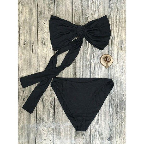 Choies Black Knot Tie Bandeau Bikini Top And Bottom (140 ZAR) ❤ liked on Polyvore featuring swimwear, bikinis, black, bandeau top bikini, tie bikini, tie bandeau bikini top, bandeau top and tie-dye swimwear