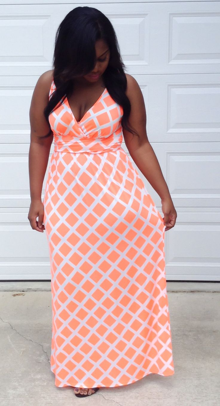 Neon Coral Maxi Dress from Cori Coren