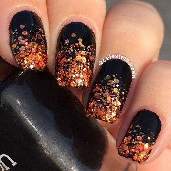 Schwarz und Orange Sparkly Nails Nägelnagelfallnagelkunstnagelideen-Fallnägel   – nails