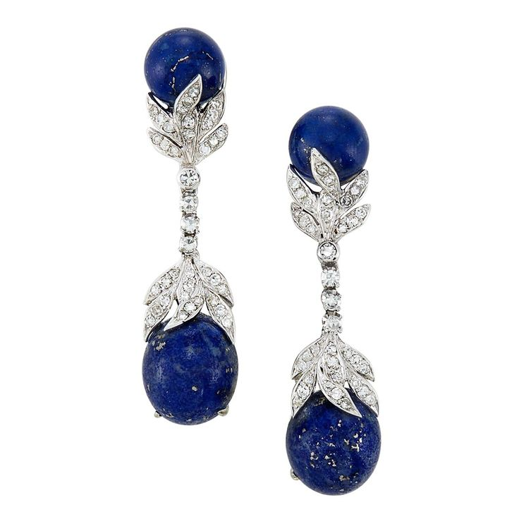 Pair of White Gold, Lapis and Diamond Pendant-Earrings, David Webb