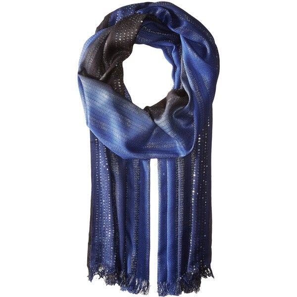 Echo Design Ombre Sequin Wrap (Sapphire) ($28) ❤ liked on Polyvore featuring accessories, scarves, metallic shawl, echo design, sequin scarves, metallic scarves and echo design scarves
