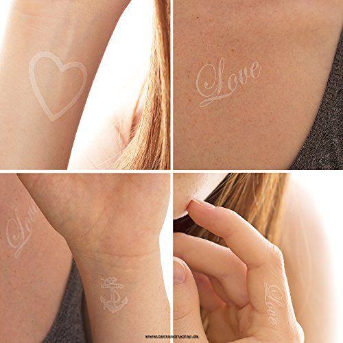 Love Herz Anker Tattoo Set in weiß - Sommertattoos. 4 Tattoos auf einer Karte in weiß. Deutsche Anleitung auf jede Rückseite. Einfache Anwendung mit Wasser übertragbar - Tattoos sind wasser- und seifenfest!