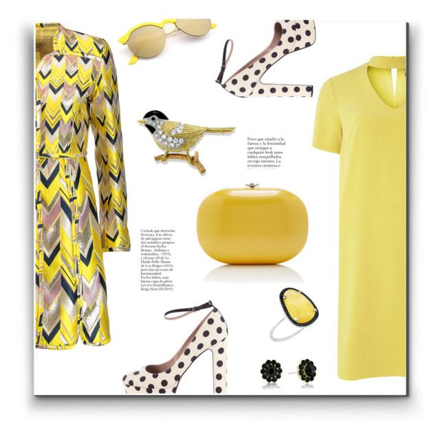 """Yellow & Black Ensemble"" by metter1 ❤ liked on Polyvore featuring Giambattista Valli, Dorothy Perkins, Jeffrey Levinson, Rochas and Christina Debs"