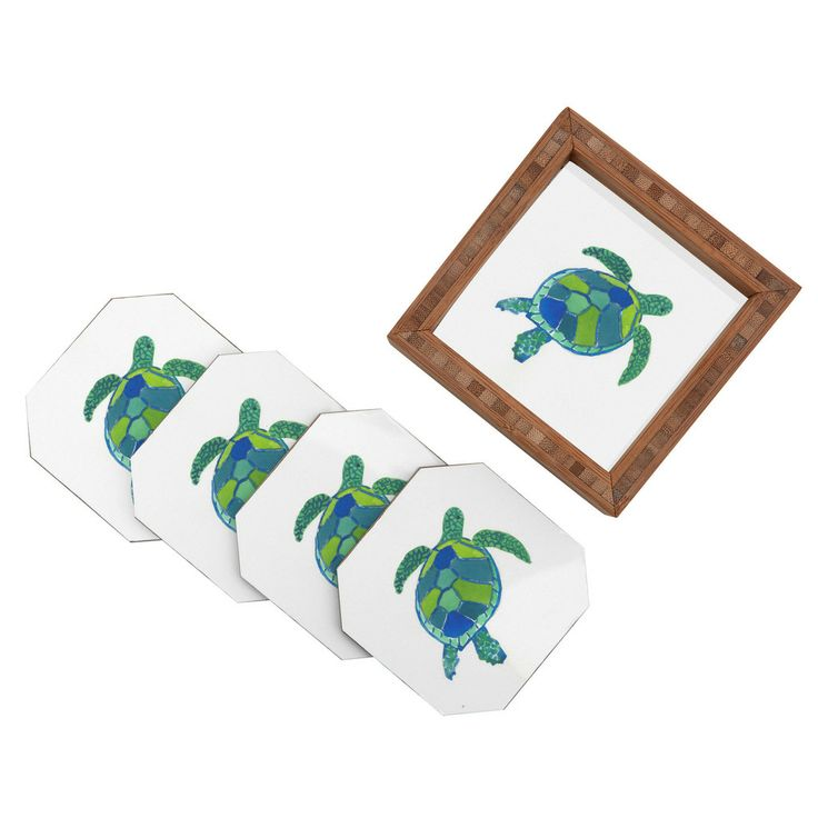 Laura Trevey Sea Turtle Coaster Set | Coastal Living Home Accessories