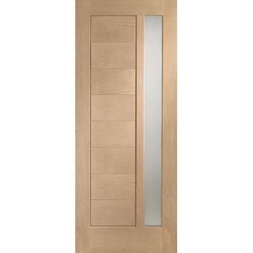 Image of Modena Oak Door - Obscure Safety Double Glazing