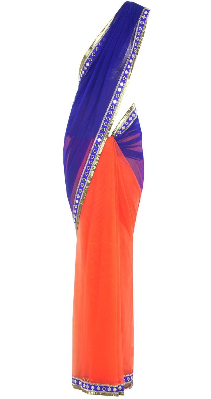 Indigo and orange sari with a mirror work border available only at Pernia's Pop-Up Shop.