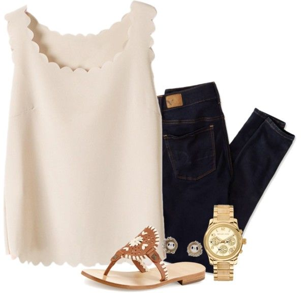 scallopin by neanariley on Polyvore featuring American Eagle Outfitters, Jack Rogers, Michael Kors and Michelle Oh