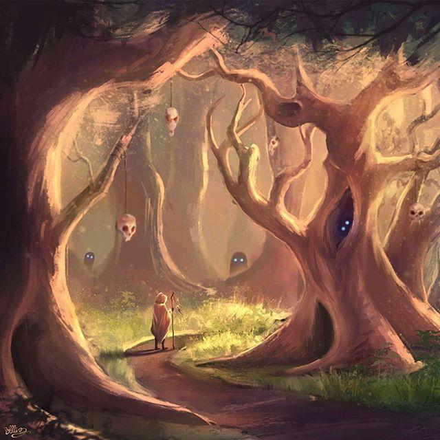 The Haunted Grove Part of my African Mythology series.  #african #mythology #illustration #art #digitalart #painting #forest #spirit #grove
