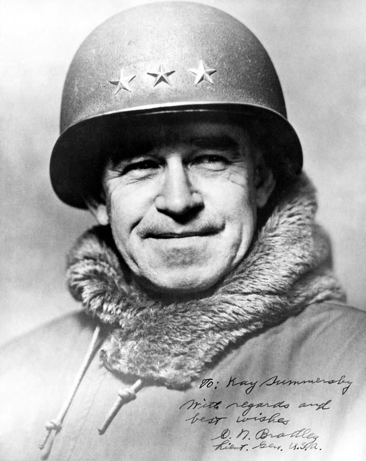 Omar Bradley was born on February 12, 1893, in Clark, Missouri. In 1915, he graduated from West Point. Under General George S. Patton, he captured Bizerte, Tunisia in 1943, which led to the surrender of more than 250,000 Axis troops. As a commander in World War II, he planned and participated in the Normandy Invasion. In 1949, he was named the first chairman of the Joint Chiefs of Staff.