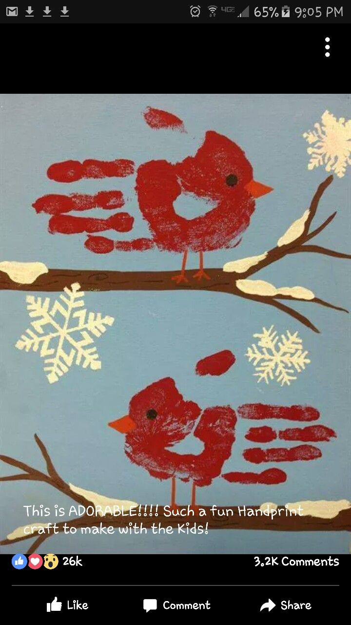 2nd Grade Christmas Craft Ideas Part - 41: Handprint Winter Cardinal And Snowflakes Craft For Kids. An Adorable Art  Project For Kindergarten, First Grade And Second-grade Kids During The  Winter!
