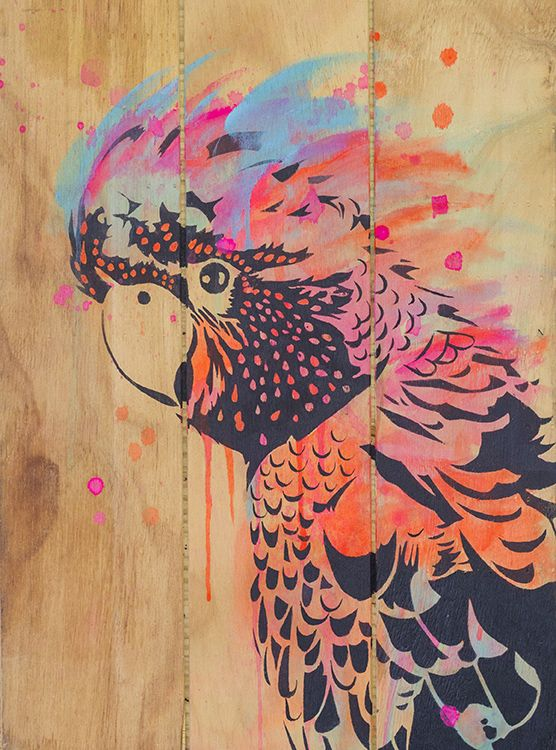 Cockatoo stencil painting by Maria Harding