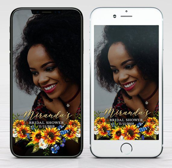 Watercolor Sunflowers Snapchat Geofilter Custom Sunflowers Etsy Snapchat Geofilters Bridal Shower Geofilter