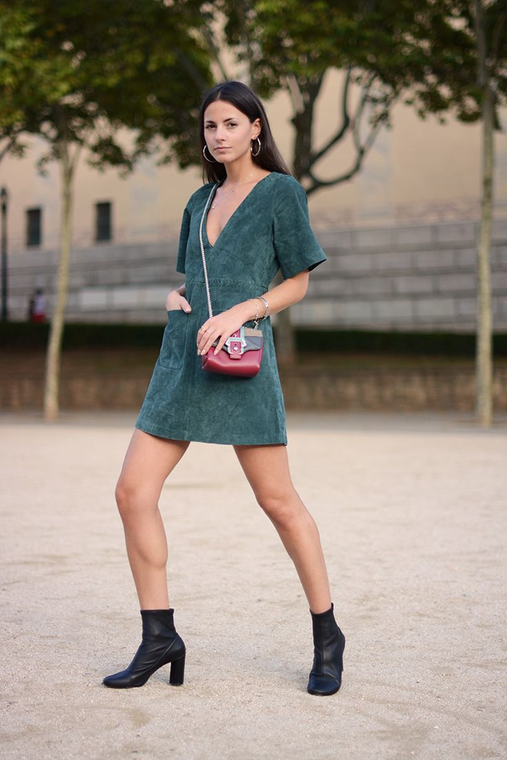 green suede dress with boots: