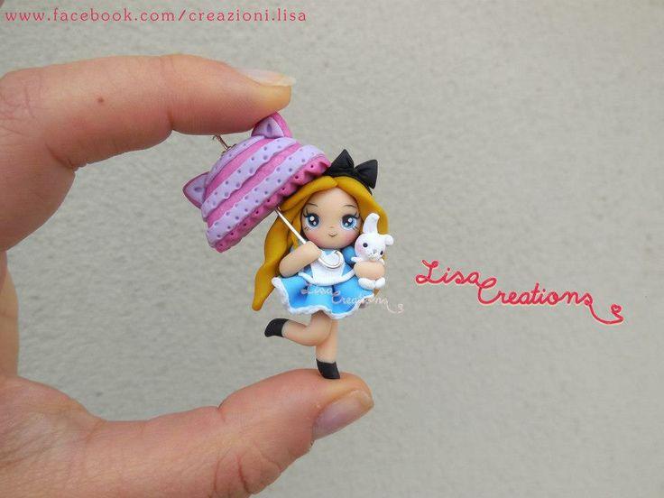 Alicia en el país de las Maravillas con un paraguas de Cheshire