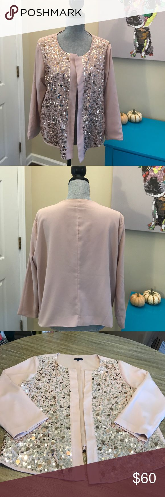 Sequin Blazer!!! Open style light pink blazer with rose gold sequins!! Gorgeous!!! Worn and washed once!!!! In excellent condition!!! Perfect for a holiday party or a night on the town!! GAP Jackets & Coats Blazers
