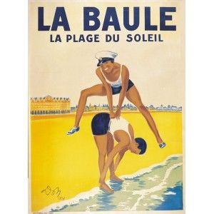 Vintage Travel Poster - France - Brittany - La Baule La Plage du Soleil