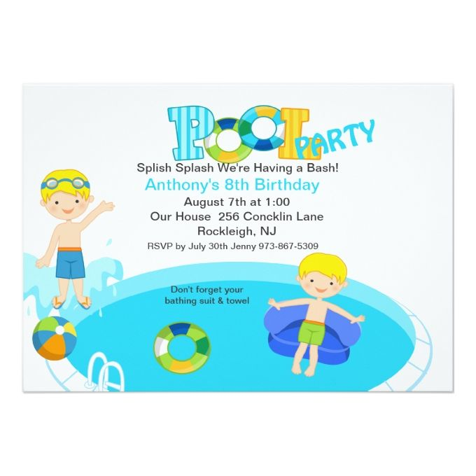 Best Pool Party Invitations Images On   Pool Party