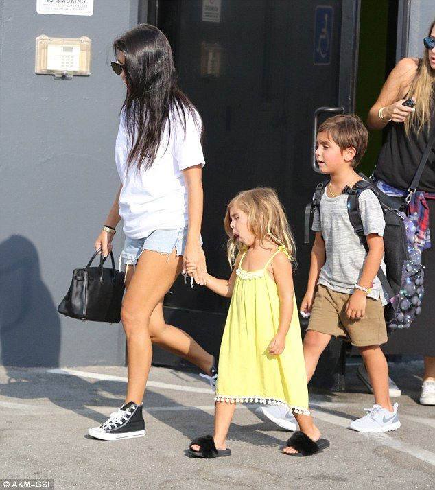 Bounce it out: Kourtney Kardashian took Penelope and Mason Disick to join their cousin North West for a day of trampoline fun on Saturday