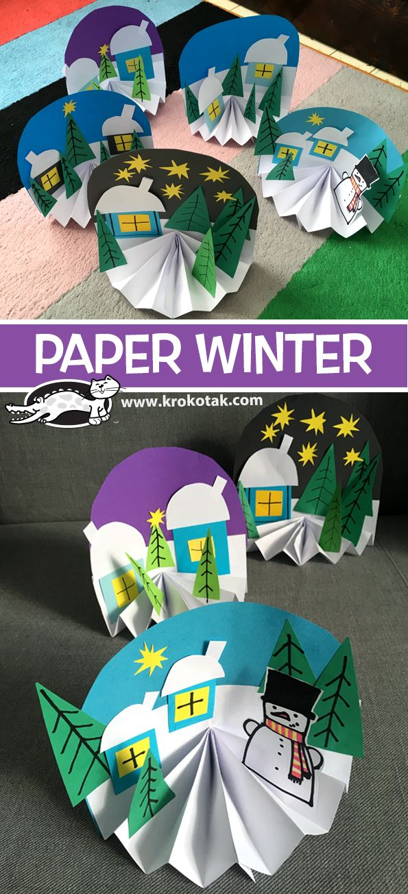 PAPER WINTER CRAFT: just add ornaments to the trees and would work as a Christma...