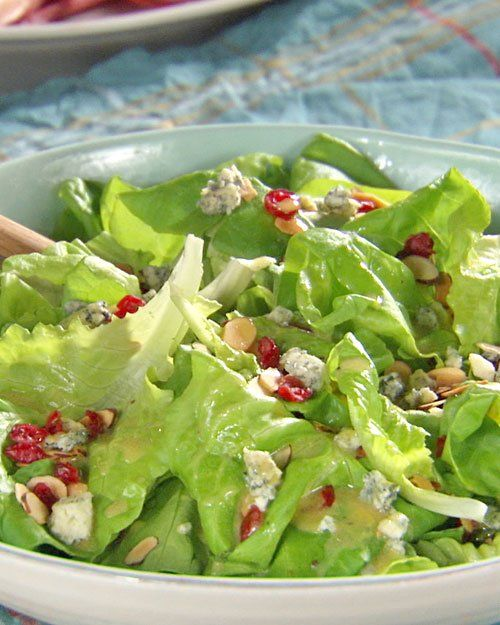 Cranberry-Almond Green Salad with Honey Mustard VinaigretteBlue Cheese, Recipe, Cranberry'S Almond Green, Honey Mustard, Crumble Blue, Cranberryalmond Green, Mustard Vinaigrette, Martha Stewart, Green Salads