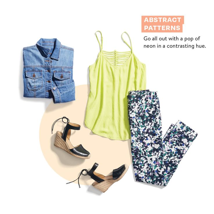 Spring Prints: Go all out with printed pants & a pop of neon in a contrasting hue.