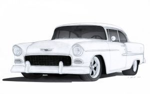 Done With Pencils And Some Little Work In Photoshop Engine Chevy 572 Transmission Richmond Super Plus Wheels American Racing 1955 Chevrolet Bel Air