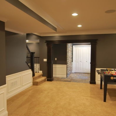dark walls light trim and wainscoting medium to dark wood stained