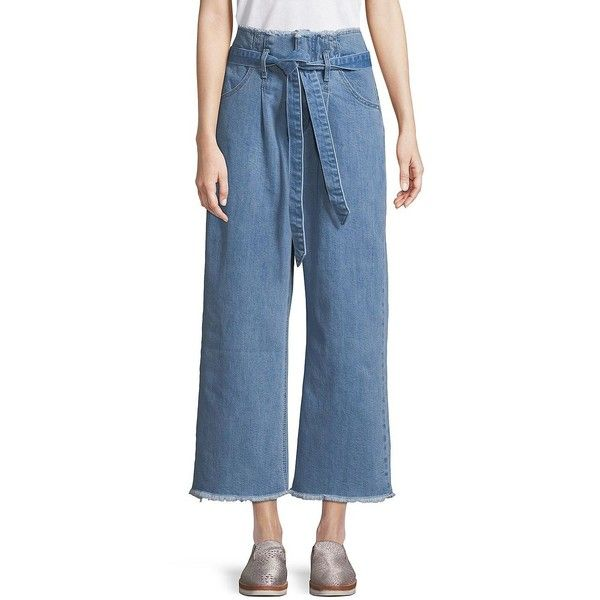 Design Lab Lord & Taylor Women's Frayed Vintage Paperbag Pants ($52) ❤ liked on Polyvore featuring pants, vintage indigo, hook and eye pants, vintage trousers, cotton spandex pants, zip pants and zipper pants
