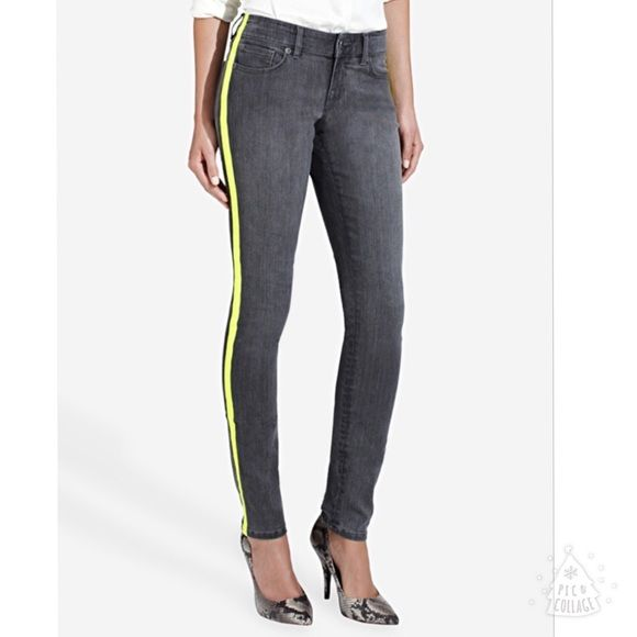 """50% Off Bundles! Limited Neon Tuxedo Jeans Limited Time Only- 50% Off Bundles of 3 or More! Ask me to make your bundle. The Limited Neon Tuxedo Jeans. Fantastic dark gray jeans with bright neon tuxedo stripe. Size 12 measures: 36"""" around the top, 9"""" rise, 30"""" inseam. 83% cotton, 16% poly, 1% stretch. The first pic is from google images. 1118/350/011516 The Limited Jeans Skinny"""