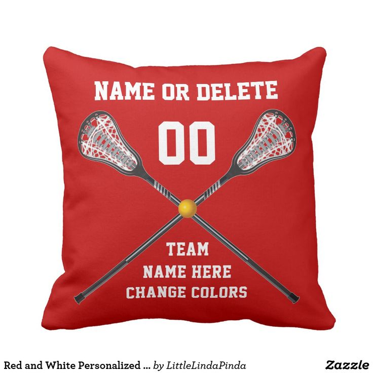 Personalized Senior Night Lacrosse Gifts for boys or girls. Red and White Personalized Lacrosse Pillow colors can be CHANGED to Your Colors. CLICK: https://www.zazzle.com/z/o4wm4?rf=238147997806552929 Awesome personalized lacrosse team gifts and gifts for lacrosse players. See more lacrosse bedroom ideas and party supplies HERE: https://www.zazzle.com/littlelindapinda/gifts?cg=196911605575086121