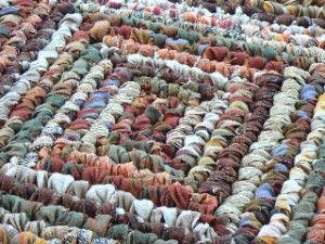 square crochet rag rug. Info re maker of wooden crochet hooks