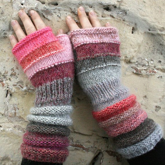Bubblegum Unmatched Hand Knit Wrist Warmers