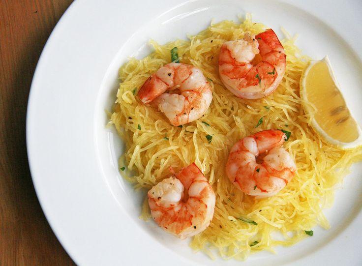 Roasted Shrimp Over Spaghetti Squash by fitsugar #Shrimp #Spaghetti_Squash #GF