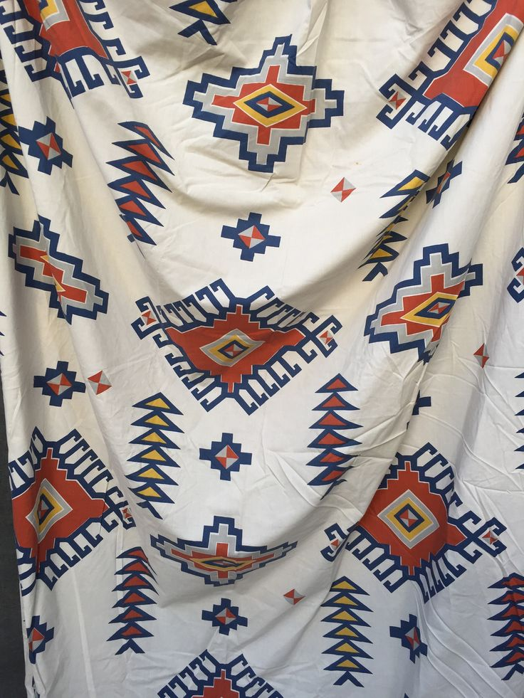 Vintage 70's Montgomery Ward Double Size Fitted Sheet - Southwestern Tribal Print by ElkHugsVintage on Etsy