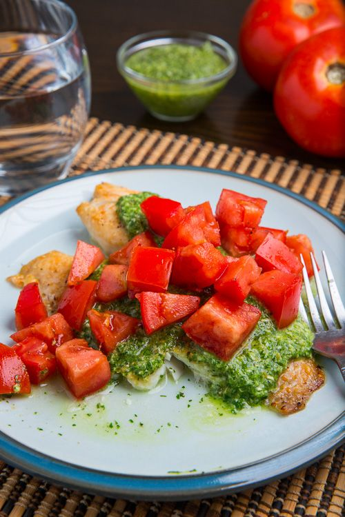 Foil-Wrapped Grilled Tilapia Packets With Pesto, Tomatoes, And Green ...