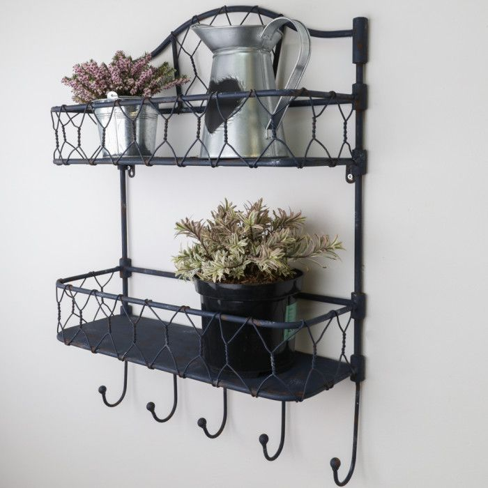 Industrial Style Wall Shelf with Hooks
