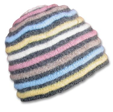 KnitWhits - Knitting Patterns and Kits - Ripley Felted Hat with Raised Stripes - Winter