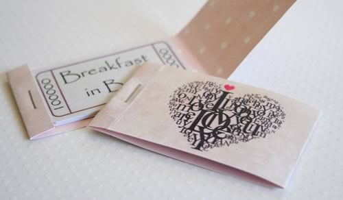 Cute gift idea. Romantic coupons ideas: Breakfast in bed, Movie night, Candle-lit dinner, Foot rub, Slow dance, Big Cuddle, Back massage, Free wish