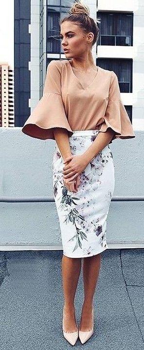 Tan Top + Floral Skirt                                                                             Source