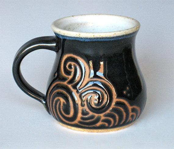 Handmade Ceramic Mug in Deep Sea Tempest:  Deep Blue and Satin White