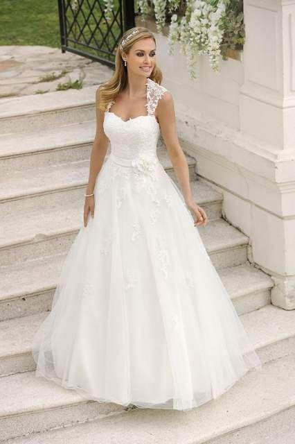 Hochzeitskleid Brautkleid A Linie Trager Spitze Rock Mit