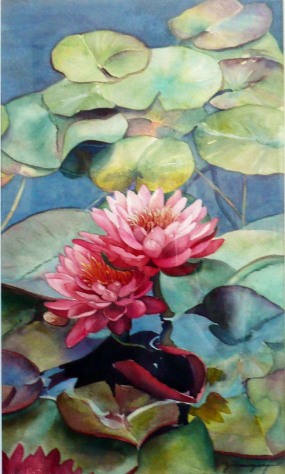 coat sale uk Original Watercolor Painting of Waterlilies at by YvonneHemingway   600 00