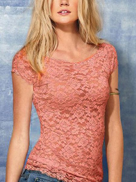 Floral Full Lace Short Sleeve Shirt Stretch Scoopneck T-shirt