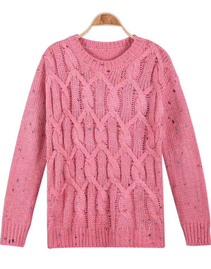 Pink Long Sleeve Cable Knit Loose Sweater - Sheinside.com